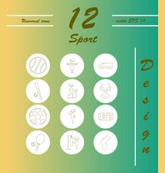 Minimalistic thin line sports sharp icons vector