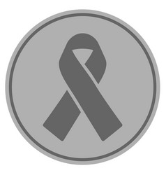 Mourning ribbon silver coin vector