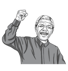 nelson mandela madiba cartoon caricature vector image