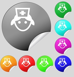 nurse icon sign Set of eight multi-colored round vector image
