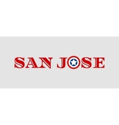 San Jose city name with flag colors vector image vector image