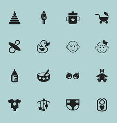 set of 16 editable child icons includes symbols vector image vector image