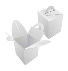 Set of blank kraft paper gift box mockup white vector
