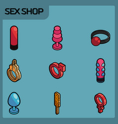 sex shop color outline isometric icons vector image