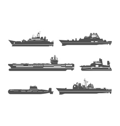 Silhouettes of naval ships vector