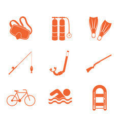 Sport and recreation icons set vector