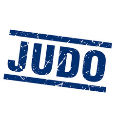 Square grunge blue judo stamp vector