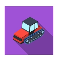Tracked tractor icon in flat style isolated on vector