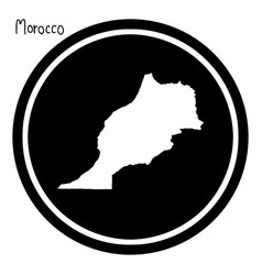 white map of morocco on black circle vector image vector image