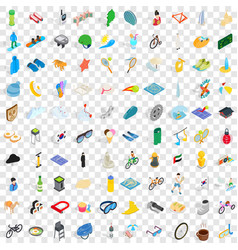 100 active life icons set isometric 3d style vector