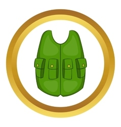 Green hunter vest icon vector