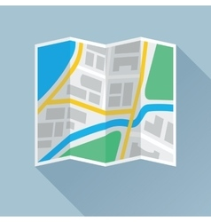 Folding paper map flat icon vector
