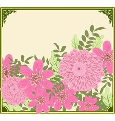 Retro summer card with garden flowers vector