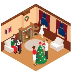 Celebration of christmas isometric design vector