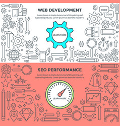 Banners for web development and performance vector
