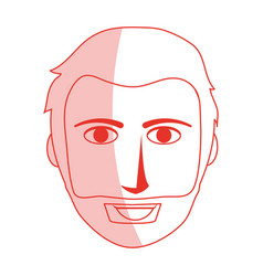 Red silhouette shading front face man with beard vector