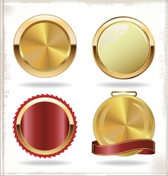 Badges of gold and red seal set vector