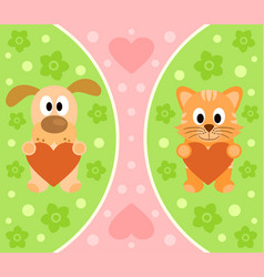 Background with funny cartoon cat and dog vector