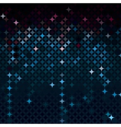 Abstract mosaic in dark neon blue colors vector