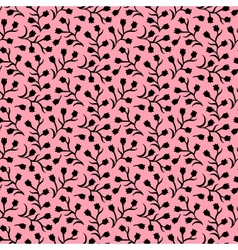 Ditsy floral pattern with small black tulips vector