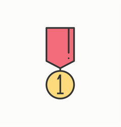 1st place gold medal award with ribbon winner vector