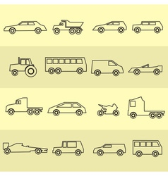 Simple cars black outline icons collection eps10 vector