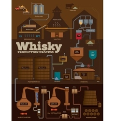 Whisky distillery production process infographics vector