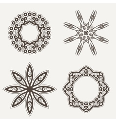 Intricate henna lines painted flowers set vector