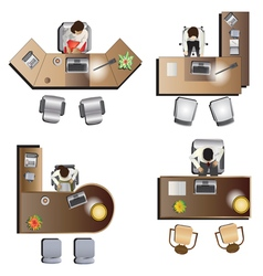 Office furniture top view set 6 vector