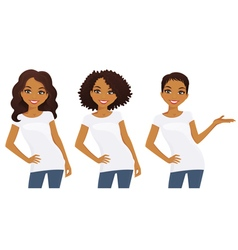 Set of cute girls in white t-shirts vector