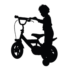 Boy happy drive bike vector