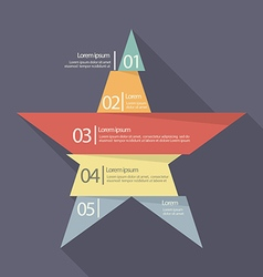 Step design of five part star infographic vector