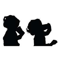 Child drink silhouette vector