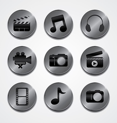 Metal plate theme icon button set vector