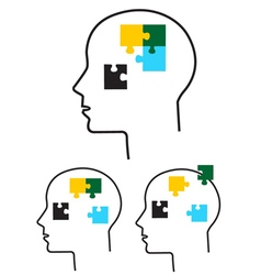 Person with puzzle in head vector