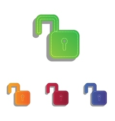 Unlock sign  colorfull applique icons vector