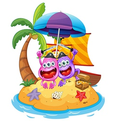 An island with pirate monsters vector image