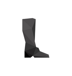 Black boot in polygonal style vector