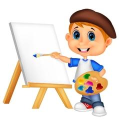 Cartoon boy painting vector