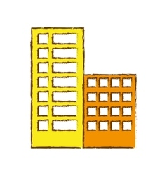 Color buildings and city scene line sticker vector