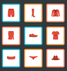 Flat icons gumshoes fedora shorts and other vector