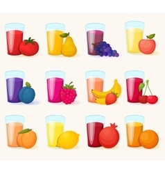 Fruits juices icons set vector image vector image
