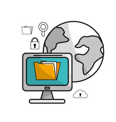 Global computer service with technology icons vector