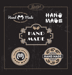 hand made label set vector image
