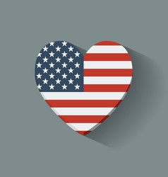 Heart-shaped icon with flag of the usa vector