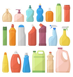 household chemicals bottles pack cleaning vector image