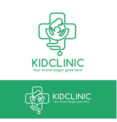kid clinic logo parent and child in cross symbol vector image vector image