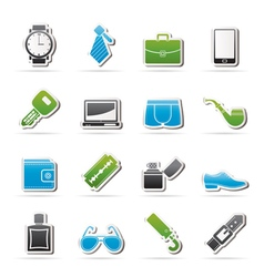 Male accessories and clothes icons vector image