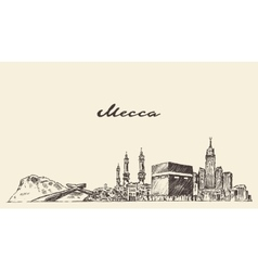 Mecca skyline hand drawn vector