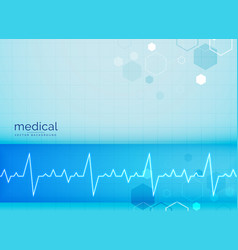 Mecial background with electrocardiogram heart vector